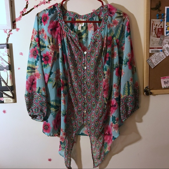 Fig Flower Tops Fig Flower Tropical Print Tie Front Blouse